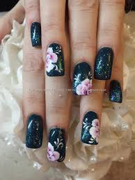 Eye Candy Nails & Training - Teal polish with glitter fade and one ...