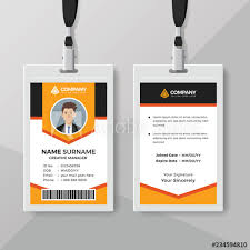 Creative Employee Id Card Template With Orange Details Buy