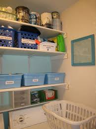... House Room Laundry Organization With White Plastic Laundry Basket And  Horizontal Cube Wall Mounted Storage Utility ...