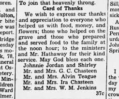 Card of Thanks for Virgie Chastain Jordan's funeral - Newspapers.com