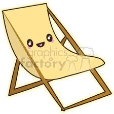 lounge chair clipart. beach lounge chair cartoon character vector clip art image clipart