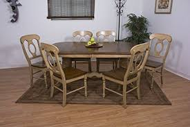 sunset trading 7 piece brook double pedestal extension dining set with napoleon chairs