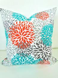 Etsy Throw Pillows Orange Pillows Orange Teal Throw Pillow Covers Turquoise