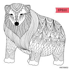 Small Picture Hand drawn Polar bear zentangle style for coloring booktattoot
