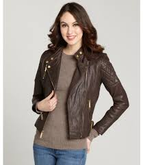women s fashion outerwear jackets dark brown leather jackets wyatt black quilted leather padded shoulder moto jacket