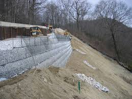 soil nail rening wall with mse rock filled wire face rening wall