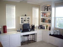 Built In Office Desk And Cabinets Tranquil Home Office Decor Ideas Featuring L Shaped Built In Desk
