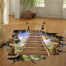 Small Picture 3D Hanging Wooden Bridge Floor Wall Decals Stickers Art Home Room