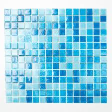 Fliesen Mosaik Mosaikfliese Quadrat Bad Pool Glas Blau Hellblau Mix