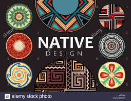 Native Design Native Design Collection On Black Background Collection Of