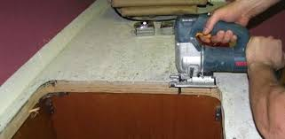 how to install tile countertops using jigsaw to cut out sink hole install granite tile countertop