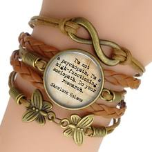 sherlock holmes charm bracelet gl cabochon jewelry vine multilayer leather bracelets for women men gift