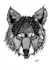 Free Coloring Page For Adults Wolf With Doodles Zentangle Wolf