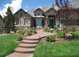 Informal Front Yard, Colored Concrete Walkway Front Yard Landscaping Accent  Landscapes Colorado Springs, CO