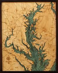 Chesapeake Bay Maps Charts Chesapeake Bay 3 D Nautical Wood Chart 24 5 X 31