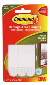 3M Command White Picture Hanging Strip Pack of 3 | Departments | DIY at B&Q