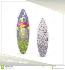 Surfboard Design Contest Alien Surfboard Design Stock Vector Illustration Of Leaf