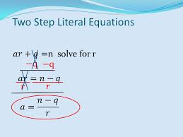 5 two step literal equations
