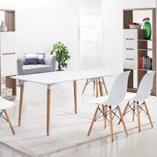 Furmax Kitchen Dining Table White Modern Style Rectangular