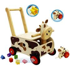 kids wooden walker rider shape sorting cow baby activity walking toy gift