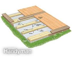 This cutaway shows how to build a deck over a concrete patio.