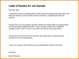 how to decline job offer letter of decline for job sample 175 0