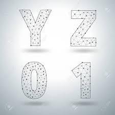 Templates Alphabet Letters Mesh Stylish Alphabet Letters Numbers Y Z 0 1 Vector Illustration