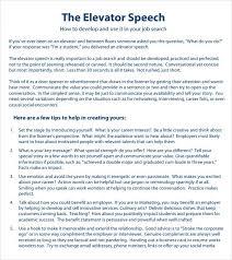 8 Elevator Speech Samples Sample Templates Digital Media Us