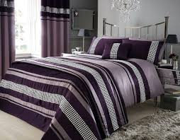 cozy purple duvet cover for modern bedroom design ideas with white ceramic and grey set gray