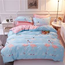 monily bedding sets simple animal lovely flamingo geometric words blue pink grey duvet cover heart king