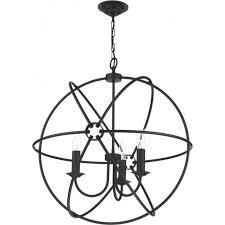 orb 3 light gyroscope black ceiling pendant