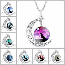 whole fashion women jewelry wolf head moon gem necklace wolf totem retro alloy pendant necklace for women sweater chain choker choker necklaces