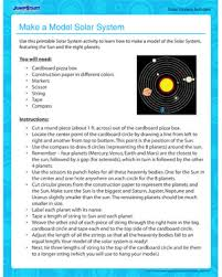 make a model solar system solar system activities jumpstart make a model solar system solar system activity for kids