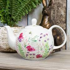 in bloom floral bee ceramic teapot tea serving pot jug vintage