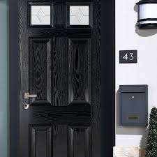 grp colonial black front door with glass