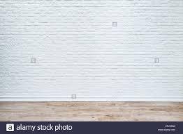 white wood floor background. White Brick Wall And Plank Wood Floor Background