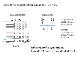 let s try a multiplication equation 3x 15 3x 15 x 5 with