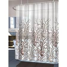 coral and brown shower curtain. coral peva shower curtain - tropical ocean sea life and brown e