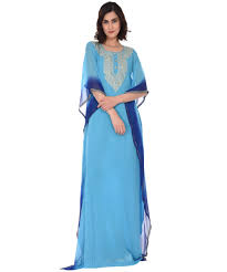 Turquoise Blue Ombre Kashmiri Tilla Embroidered Kaftan Gown