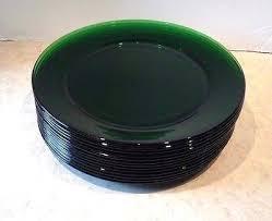 green glass plates lot vintage emerald dinner across salad green glass plates