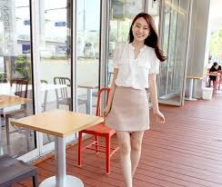 hot office pic. Office Lady Chiffon Solid Color Stand Collar Pocket Short Sleeve Hot Supplied Blouses Pic