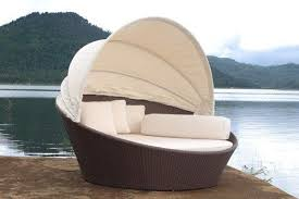 canopy sun lounger round patio lounge