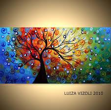 seasons 72x36 original modern abstract whimsical fantasy landscape tree oil painting large canvas by luiza vizoli
