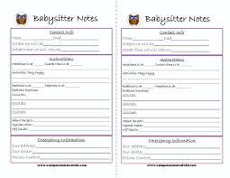babysitter information sheet printable template parent information sheet template checklists printable for