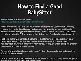 How To Be A Good Baby Sitter How To Find A Good Babysitter Or Nanny