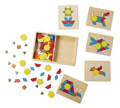 wooden pattern blocks and boards