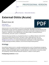 External Otitis (Acute) - Ear, Nose, and Throat Disorders - Merck Manuals  Professional Edition.pdf | Clinical Medicine | Diseases And Disorders