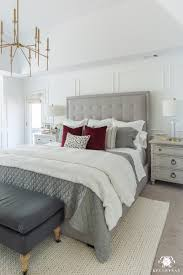 gray master bedroom decor with white walls