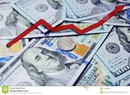 Red Arrow Chart On The Background Of Hundred Dollar Bills