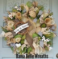 Easter Deco Mesh Wreath-Easter Cross-He Is Risen Decor